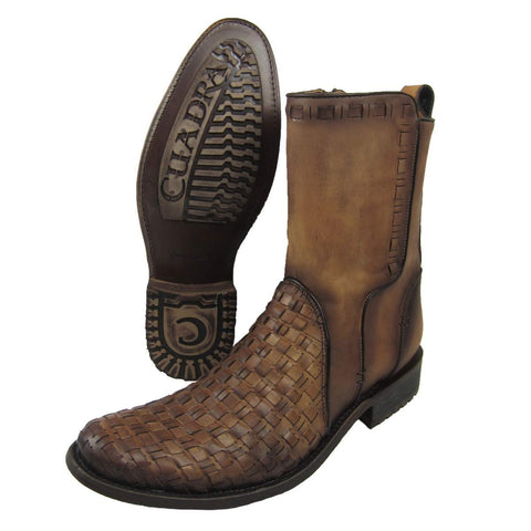 Cuadra Men's Urban Woven Almond Bovine Leather Round Toe Ankle Cowboy Boot - CU199