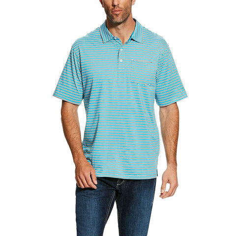 ARIAT Men's Spry Polo T-Shirt, Turquoise Reef Stripe