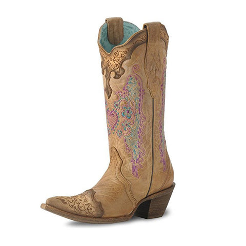Women's Lace and Heart Embroidery Cowgirl Boot Pointed Toe - C1608