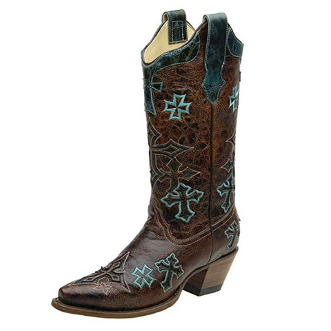 Corral Women's Three Cross Vamp and Tube Snip Toe Cowgirl Boot - R1019