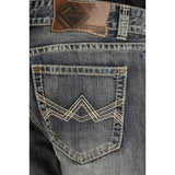 Rock & Roll Cowboy Double Barrel Relaxed Straight Leg Abstract Zig-Zag Jean (32x34) - M0S9480