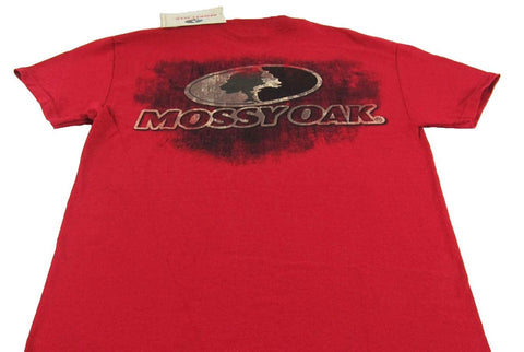 Youth Mossy Oak Camo Distressed Tee Short Sleeve T-Shirt Cardinal Red