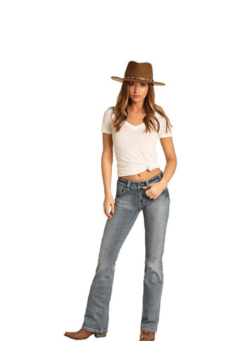 Rock and Roll Cowgirl Denim Mid Rise Bootcut Jean, Light Vintage, 26x34