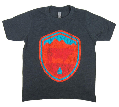 STS Ranchwear Youth Arizona Crest Tee Charcoal Gray STS3312CH