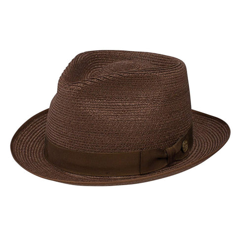 "Stetson Inwood Brown Hemp Straw Hat Fedora Size 7 1/8 R Oval 1 3/4"" Brim"