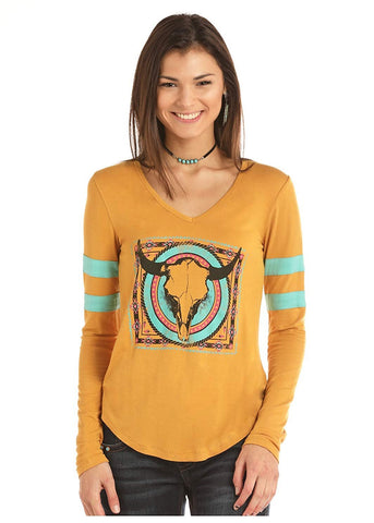 Rock and Roll Cowgirl Colorful Steerhead Long Sleeve Tee, Mustard
