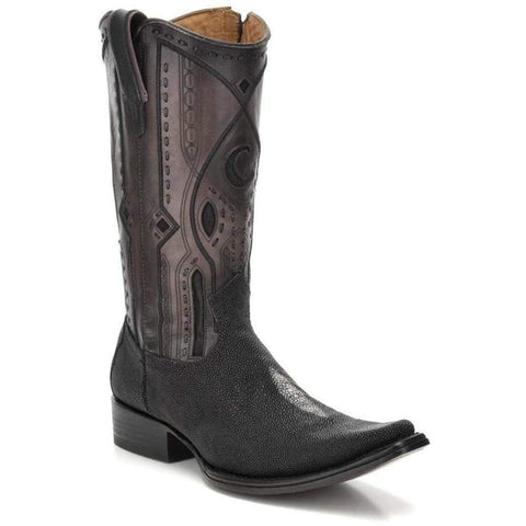 Cuadra Men's Stingray Embroidery and Laser Woven Boots - 1B1JMA / CU178 Black
