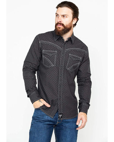 Wrangler Men's Rock 47 by Diamond Print Long Sleeve Western Shirt - Mrc351x