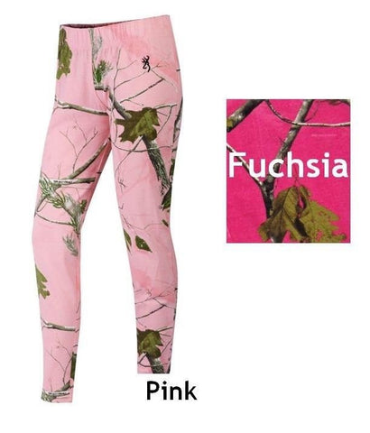 Womens Browning Opal Leggings Realtree APC Pink Fuchsia Camo Full Length Size M
