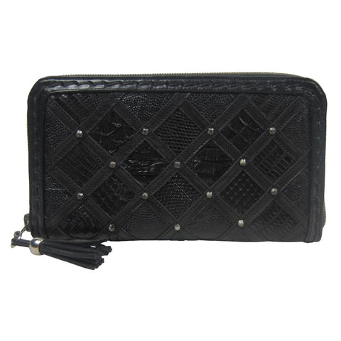 Corral Black Teju Lizard and Python Patchwork Wallet - D1032