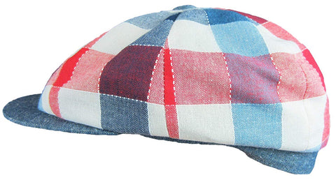 Red White Blue Newsboy 100% Cotton Cap Size Large
