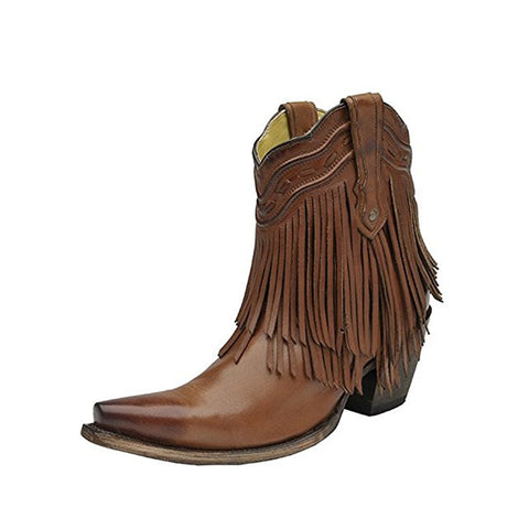 CORRAL Women's Brown Fringe and Whip Stitch Short Snip Toe Boot - G1206