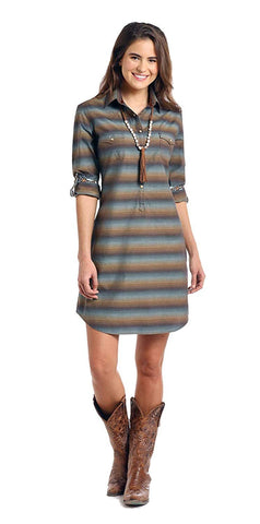 Roughstock by Panhandle Ladies Two Pocket Snap Dress, Wingo Vintage Ombre Stripe