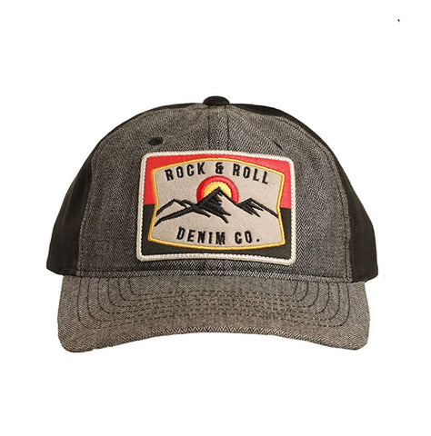 Rock and Roll Cowboy with Bronc Rider Patch Snapback Cap, Grey/Black