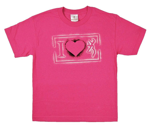 Browning Buckmark BRD7067 Girl's Pink I HEART 100% Cotton Tee Shirt _ME FUSHIA