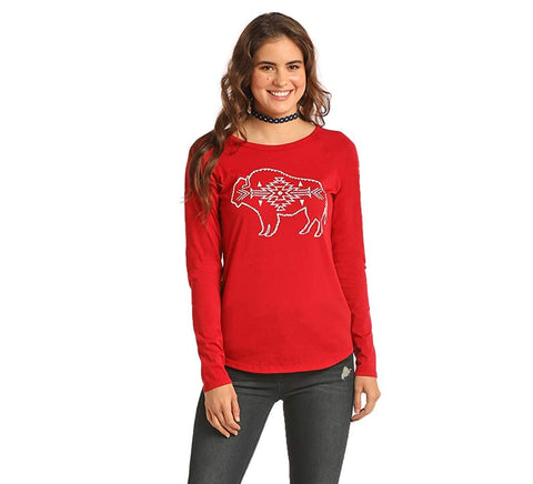 Rock & Roll Cowgirl Juniors Aztec Buffalo Graphic Long Sleeve Baseball Tee
