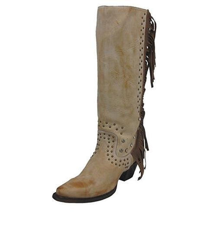 Women's Camel Fringe and Crystal Snip Toe Cowgirl Boots - R1315