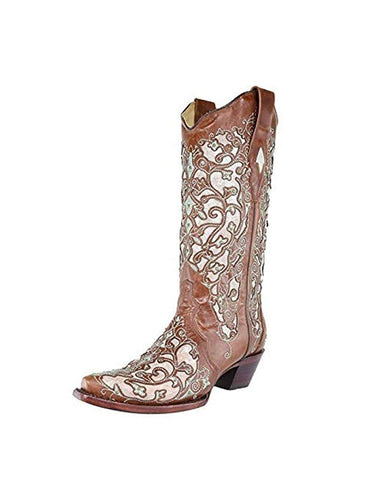 Corral Women's Western Boots Leather Heel Snip Toe Brown