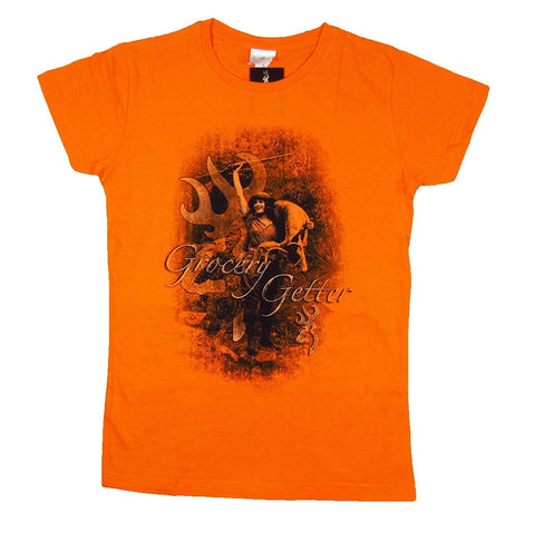 Browning Womens Grocery Getter Tee Buck Orange Fitted Short Sleeve T-Shirt