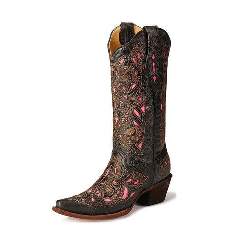 Womens Pink Inlay Floral Vintage Collection Boot - A1953