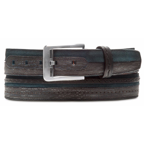 Cuadra Men's Exotic Grey Shark Woven Leather Belt - BC096 / CS341TI