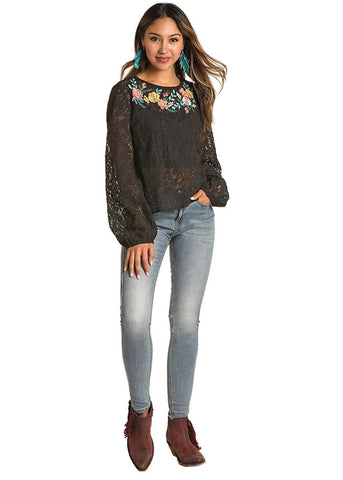 Rock and Roll Cowgirl Juniors Lace Blouse with Embroidery, Black, Medium