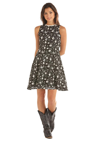 Rock & Roll Cowgirl Floral Printed Skater Dress, Black