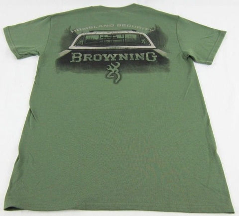 Mens Browning Buckmark Pick-up Truck Gun Rack Short Sleeve Green T-Shirt Sz S M