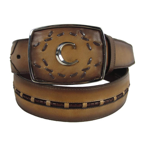 Cuadra Men's Honey Leather Handwoven Belt with Buckle - BC149
