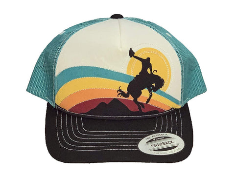 Rock and Roll Cowboy and Sunset Adjustable Trucker Cap, Teal/Black