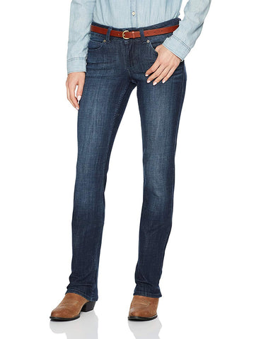 Wrangler Women's Mae Premium Patch Straight Leg Sits Above Hip Jeans - 09MWTDS