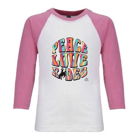 STS Ranchwear Youth STS Peace, Love and Rodeo Tee, Pink STS33525
