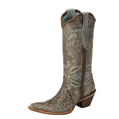 Corral Women's Hand Tooled Turquoise Distressed Cowgirl Boot Pointed Toe - C1060