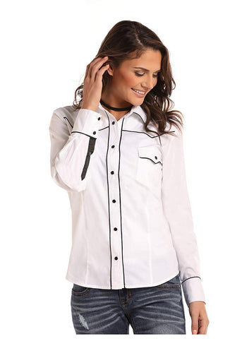 Panhandle Whit Label Ladies Long Sleeve Shirt White with Black Satin Piping