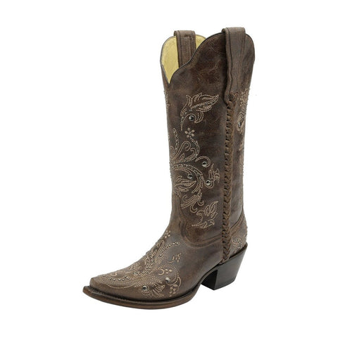 Women's Floral Whip Stitch Studded Cowgirl Boot Snip Toe - G1129