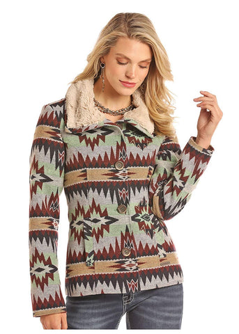 Rock & Roll Cowgirl Women's LS Jacket Navajo Pattern Ladies 52-2639