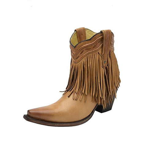 Women's Tan Fringe and Whip Stitch Short Snip Toe Boot - G1207
