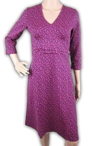 Browning Womens Casual Dress V-Neck Empire Waist Purple Wine Polka Dot