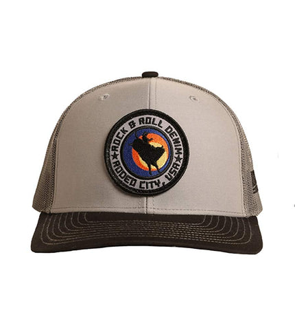 Rock and Roll Cowboy Snapback Cap with Bullrider Patch, Grey