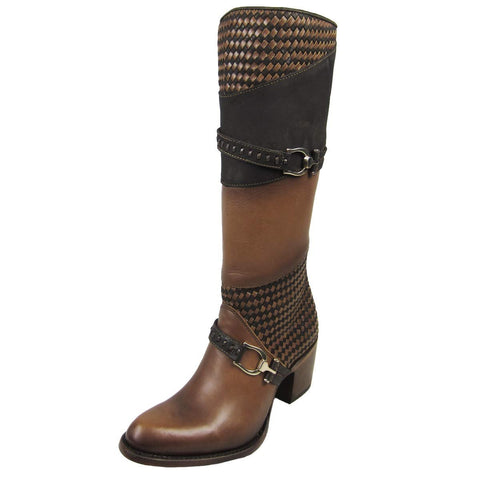 Cuadra Women's Honey Bovine Woven and Harness with Zipper Tall Round Toe Boots - CU212