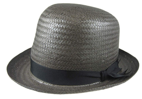 Stetson Derby Grey Straw Hat Fedora Size Medium R Oval