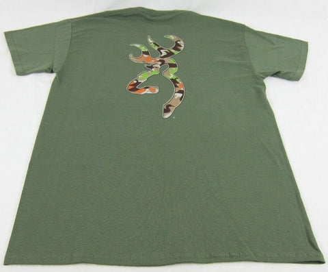 Mens Browning Buckmark Duck Camo Tee Short Sleeve Military Green T-Shirt Size M