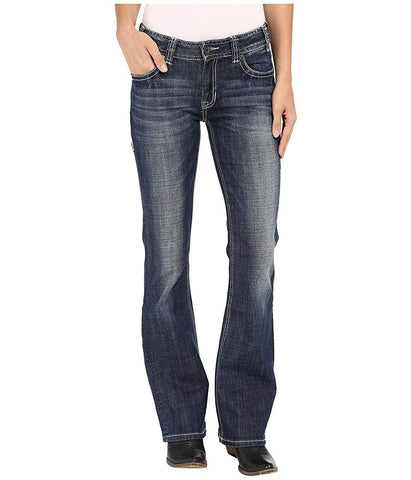 Rock and Roll Cowgirl Womens Mid-Rise Bootcut in Dark Vintage W1-7368