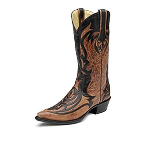 Corral Men's Black and Cognac Laser Overlay Snip Toe Cowboy Boots - G1091