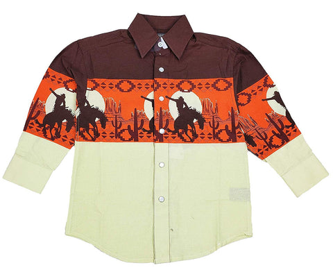 Panhandle Boy's Scenic Border Print Long Sleeve Western Shirt C0S1125