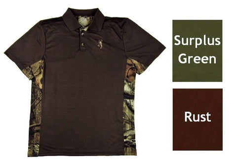 Browning Youth Flint Short Sleeve Polo Boys Performance Shirt Brown Green S-XL