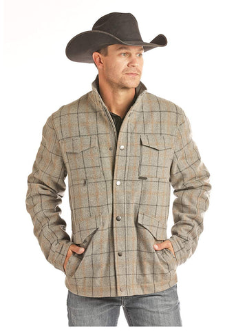 Powder River Outfitters Mens Heather Grey Plaid Coat
