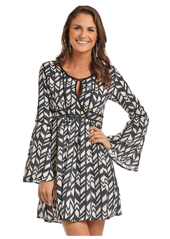 Rock & Roll Cowgirl Juniors Bell Sleeve Dress with Allover Geometric Print, Navy