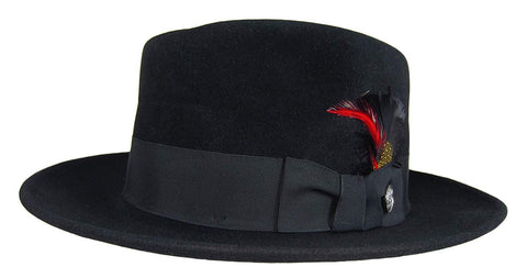 "Royal Deluxe Eagle Fedora Black Size 7 1/4 R Oval 2 1/4"" Brim"