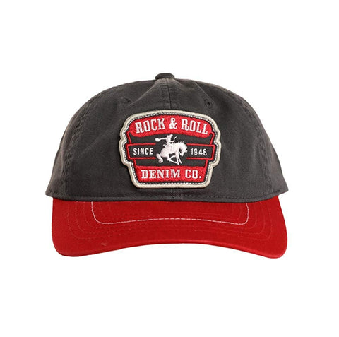Rock and Roll Cowboy Brronc Rider Patch Snapback Hat, Navy